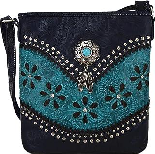 Western-Stil Toled Leder Crossbody Handtaschen Verdeckte Tragetasche Frauen Country Single Umhängetasche