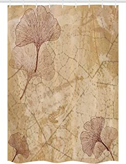 Ambesonne Beige Stall Shower Curtain, Small Large Ginkgo Leaves Pattern Dramatic Dated Fossil Maidenhair Tree Nature Art, Fabric Bathroom Decor Set with Hooks, 54