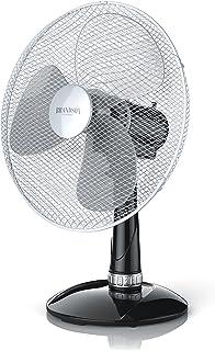 Brandson - Ventilador de Mesa 42 cm - Ventilador de Escritorio - 3 Niveles de Potencia - 50 W - Flujo de Aire Elevado - Grado de inclinación Aprox. 30 Grado - Oscilación Aprox. 85 Grado - Negro Plata
