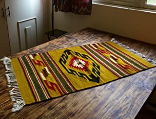 Unique!-MexicanDesign- Wool Zapotec Rug, Handwoven from Oaxaca, Mexico