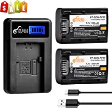 NP-FV50 Pickle Power x2 1200mAh 7.2V Battery and LCD USB Charger Replacement for Sony Handycam HDR-CX380 430V 900 580V 760V PJ540 650V PV710V 790V 810 TD30V FDR-AX100 DCR-SR DCR-SX HDR-CX XR Series