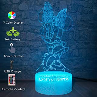 Cartoon Girls Mickey Minnie Mice Mouse 3D LED Night Light 7 Color Change Table Lamp Bedroom Decorative Christmas Gifts Kid Toys(Minnie)