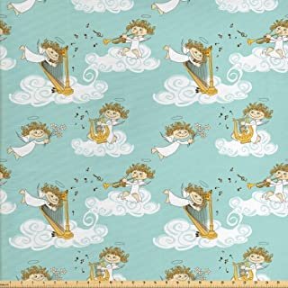 Ambesonne Angel Fabric by The Yard, Angels Playing Harp in Sky Clouds Myth Folk Lyre Folk Music Band Joy, Decorative Fabric for Upholstery and Home Accents, 1 Yard, Yellow Seafoam