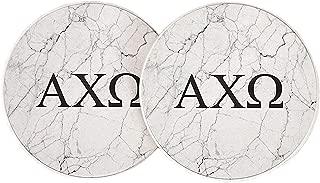 Alpha Chi Omega Sorority Absorbent Sandstone Car Cup Coaster (Set of 2) a chi o (Light Marble)