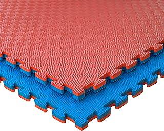 JOWY Esterilla Goma Espuma Estructura Tatami Puzzle 20mm Suelo para Gimnasio 5 líneas Ideal Artes Marciales, Judo, Suelo Tatami Japonés | 1m x 1m x 2cm Color Rojo y Azul