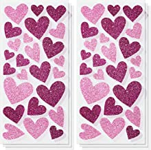 6 Sheets Valentines Heart Stickers Blissful Hearts Metallic Stickers Love Glitter Decorative Heart Stickers for Valentine'...