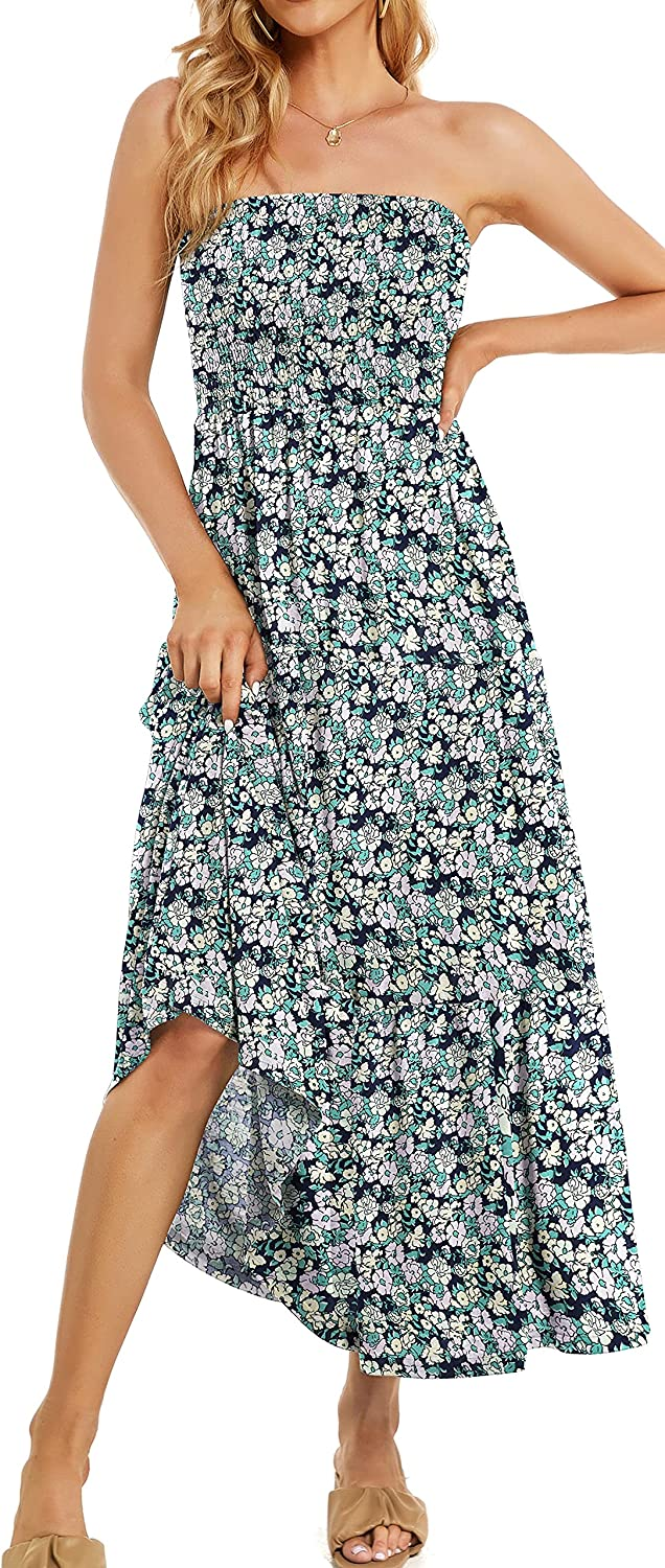 Womens Summer Casual Strapless Beach Sundress Off Shoulder Boho Party Floral Long Maxi Dresses