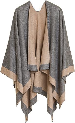 Women's Shawl Wrap Poncho Ruana Cape Cardigan Sweater Open Front for Fall Winter