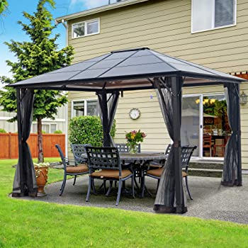 Amazon Com Yoleny 10 X12 Outdoor Hardtop Polycarbonate Gazebo Canopy Curtains Aluminum Frame With Netting For Garden Patio Garden Outdoor
