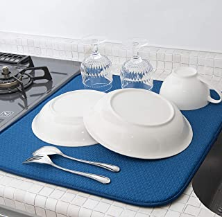 mikketa 水切りマット キッチン 食器 大判 速乾 吸水 ブルー 抗菌 防カビ 加工 全8色