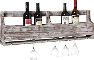 MyGift Distressed Gray Barnwood Wall-Mounted Stemware Glasses & Wine Bottle Display Rack