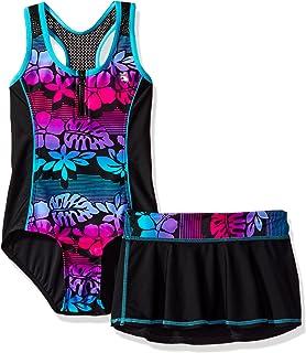 ZeroXposur Big Girls Mahalo Zipline 1pc Swimsuit W/Skirt
