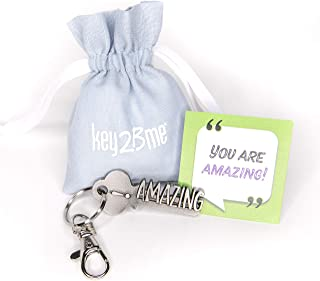 key2Bme Amazing Key - Keychain & Inspirational Quote - The Cute Cool Fun Unique Small Volunteer Employee Appreciation Thank You Gift Under $10 for Giving Kid Teen Friend Girl boy Teacher
