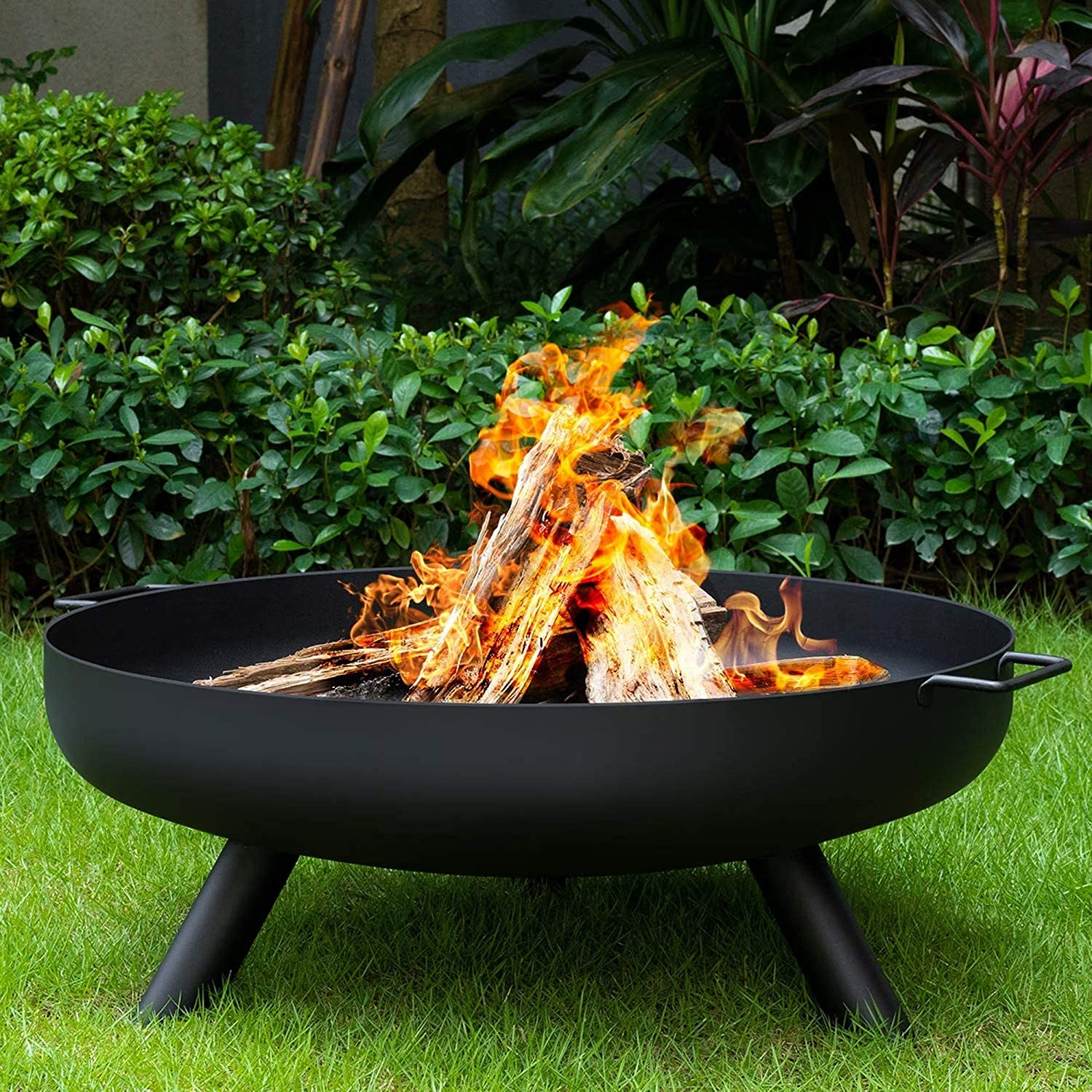 Fmxymc Outdoor Fire Bowl Wood Burning Extra Large Round Fire Pit Heavy Duty Metal Fireplace For Charcoal Burning Cast Iron Rust Proof Stove 31inch 80cm Amazon Co Uk Kitchen Home