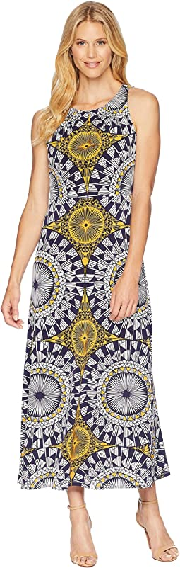 Neck Pleat Matte Jersey Print Maxi Dress