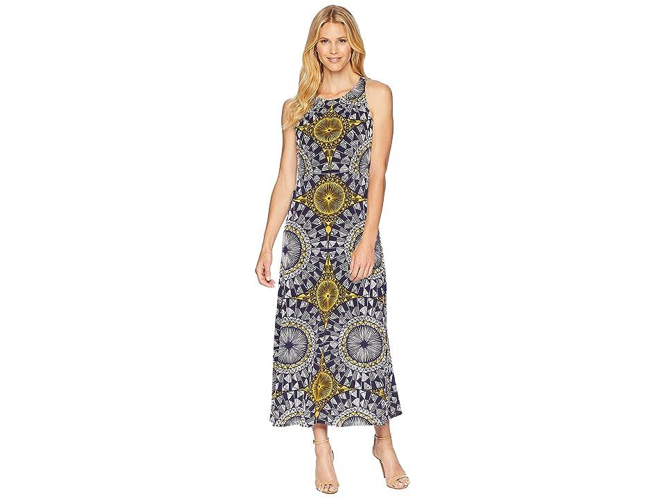London Times Neck Pleat Matte Jersey Print Maxi Dress (Navy/Gold) Women