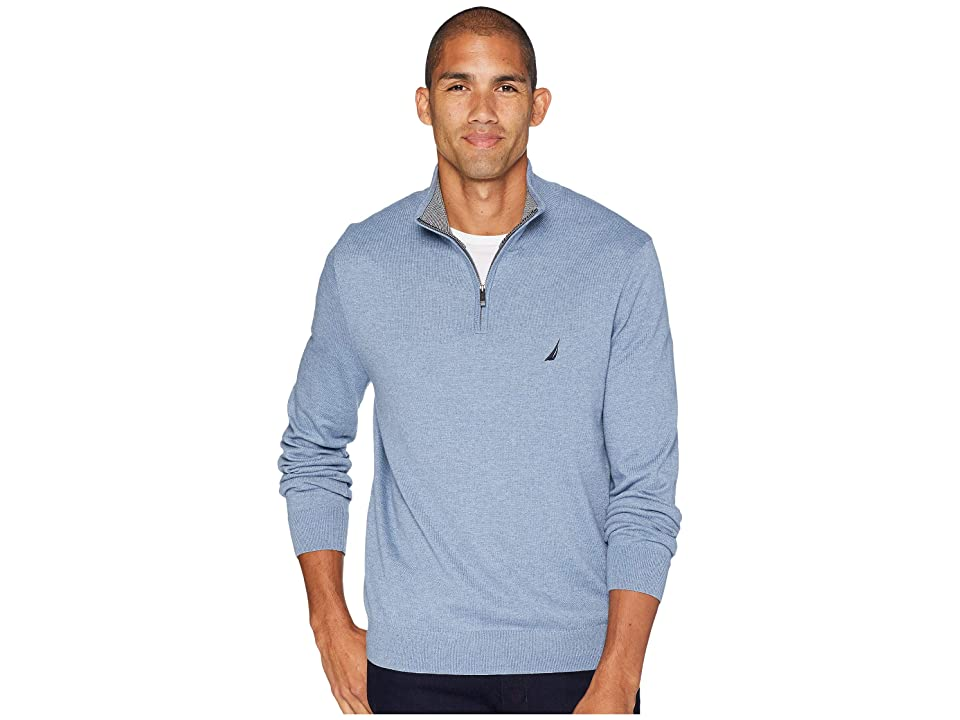 Nautica 12 Gauge 1/4 Zip Sweater (Deep Anchor Heather) Men