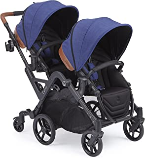 Contours Curve Tandem Double Stroller for Infants, Toddlers or Twins - 360° Turning, Multiple Seating Options, Indigo Blue