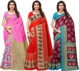 ishin Combo of 3 Poly Silk Multicolor Printed Women's Saree with Blouse Piece