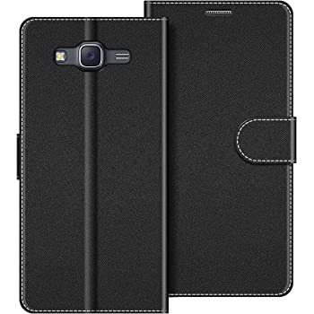 COODIO Handyhülle für Samsung Galaxy J5 2015 Handy Hülle, Samsung Galaxy J5 2015 Hülle Leder Handytasche für Samsung Galaxy J5 2015 Klapphülle Tasche, Schwarz
