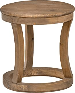 Stone & Beam Modern Rustic Reclaimed Elm Round Accent Side End Table, 16.9