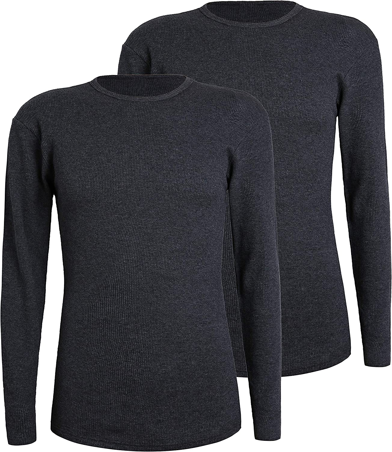 Comfneat Men's 2-Pack Thermal Long Sleeve Undershirt Waffle Knit Soft Comfy Crew Neck Top Underwear