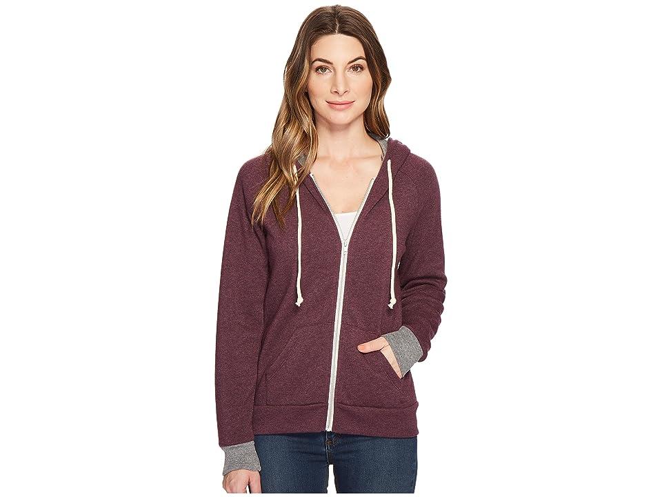 Image of Alternative Adrian Color Block Hoodie (Plum Overdye/Eco Grey) Women's Sweatshirt