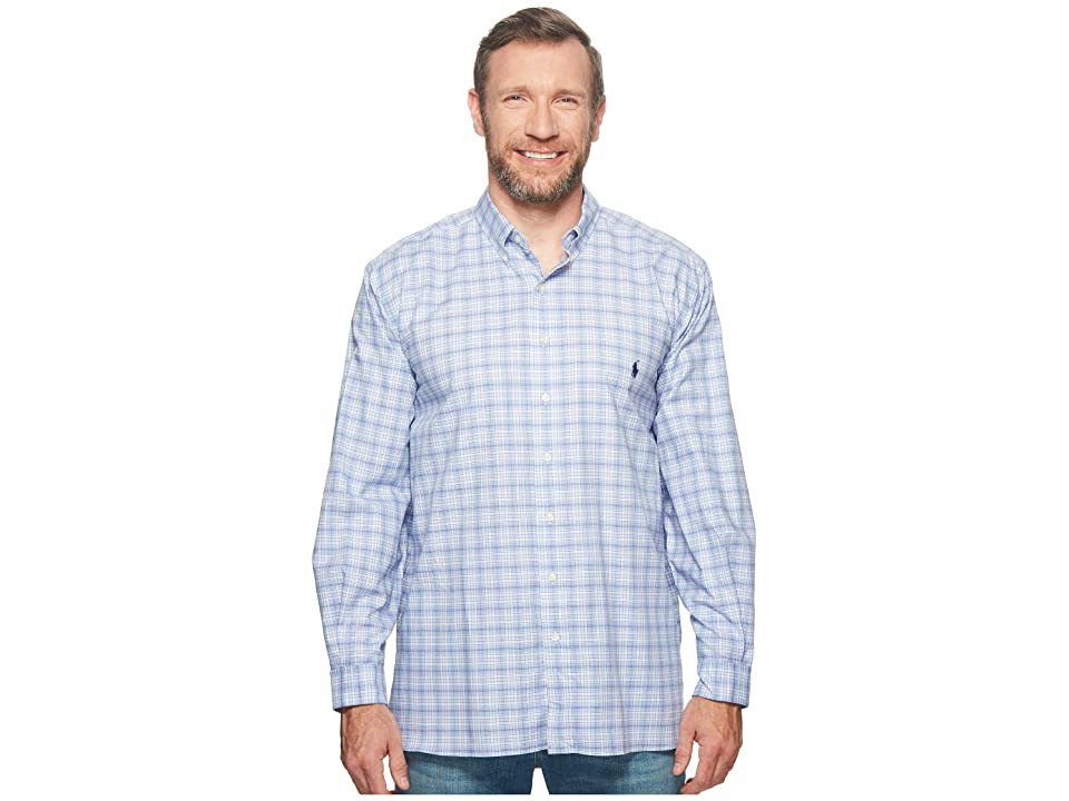 Polo Ralph Lauren Big Tall Twill Long Sleeve Sport Shirt (Powder/Blues Multi) Men
