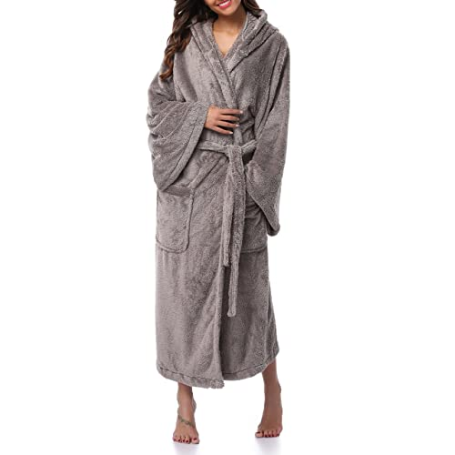 c399dc3a5f Women s Long Hooded Plush Bathrobe Soft Fleece Robe Velvet Bathrobe  Sleepwear Warm Nightgown
