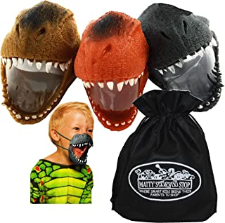 Schylling Jurassic Jaws Wearable Stretchy Dino Jaws Complete Gift Set Party Bundle with Exclusive Matty's Toy Stop Storage Bag - 3 Pack