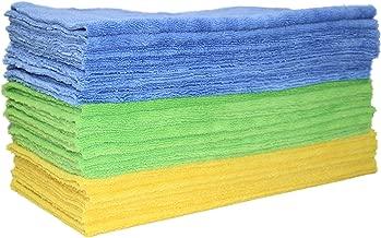 Polyte Microfiber Cleaning Towel Ultrasonic Cut Edgeless (16x16, 24 Pack, Premium, Blue,Green,Yellow)