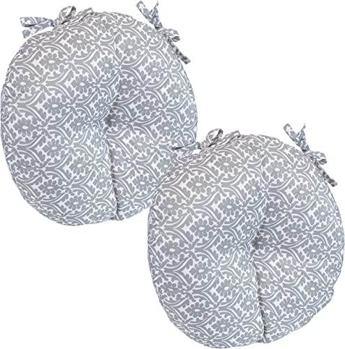 2021 Sunnydaze Polyester Outdoor Bistro Seat Cushions - Set of discount 2 - 15-Inch Diameter x 4 Inches Thick - Cozy Round online Seat Cushions for Outdoor Chairs - Perfect for The Porch, Lawn, or Deck - Gray Damask online sale