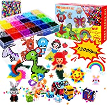Fuse Melty Beads, 13000 pcs Fuse Beads Kit 24 Colors 5MM for Kids, Including 6 Ironing Paper,100 Patterns, 5 Pegboards, Tweezers, Keychain, Rings, Christmas Gift for Kids(Bonus With Supplementary Bag)