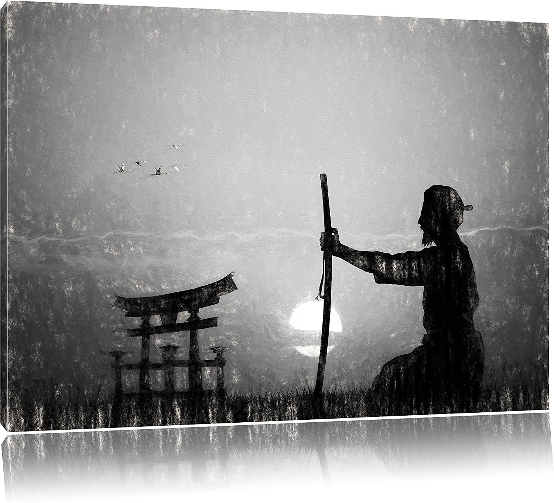 Alter Samurai-Meister vor Horizont Horizont Horizont Kunst Kohle Effekt, Format  120x80 auf Leinwand, XXL riesige Bilder fertig gerahmt mit Keilrahmen, Kunstdruck auf Wandbild mit Rahmen, günstiger als Gemälde oder Ölbild, kein Poster oder Plakat B01N14IZNZ bd0951