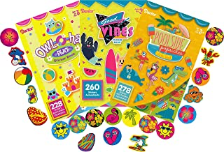 Good Vibes, Pool Side Pops and Owl-O-ha Beach Assorted Sticker Books for Kids - 3 Books Plus 100 Bonus Tropical Paradise Stickers - Over 860 Stickers - Bundle