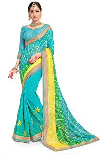 ELINA FASHION Sarees for Women Faux Georgette Embroidered Saree l Indian Wedding Ethnic Sari & Blouse Piece