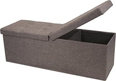 Otto & Ben Folding Toy Box Chest with Smart Lift Top Linen Fabric Ottomans Bench Foot Rest for Bedroom and Living Room, Brown