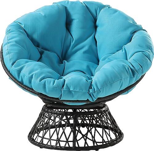 OSP Home Furnishings Wicker Papasan Chair with 360-Degree Swivel