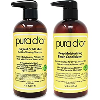 PURA D'OR Biotin Original Gold Label Anti-Thinning (16oz x 2) Shampoo & Conditioner Set, Clinically Tested Effective Solution w/ Herbal DHT Ingredients, All Hair Types, Men & Women (Packaging Varies)