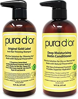 PURA D'OR Biotin Original Gold Label Anti-Thinning (16oz x 2) Shampoo & Conditioner Set, Clinically Tested ...