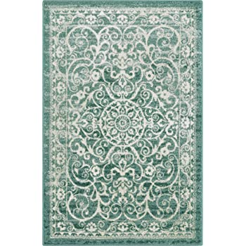 Maples Rugs Pelham Vintage Area Rugs for Living Room & Bedroom [Made in USA], 7 x 10, Light Spa