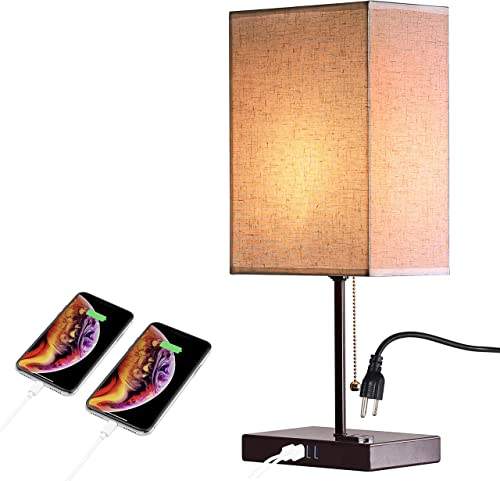2021 USB Bedside new arrival Table Lamp with 4 USB Charging Ports, Bronze Nightstand Lamp, discount Thicken Stable Base, Convenient Pull Chain for Bedroom Living Room (Bronze) sale