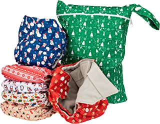 Simple Being Reusable Cloth Diapers- Double Gusset-6 Pack Pocket Adjustable Size-Waterproof Cover-6 Inserts-Wet Bag (Chris...