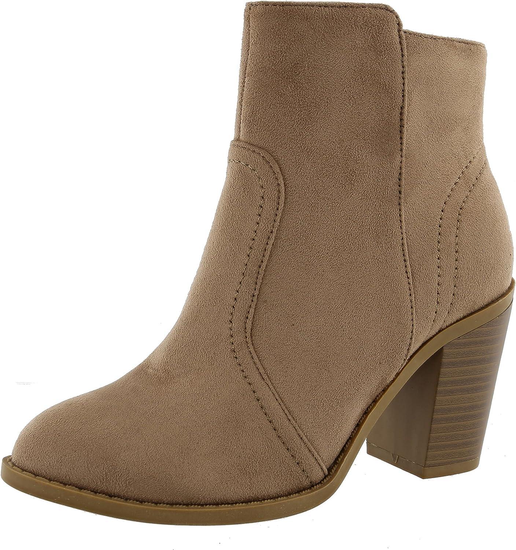 Top Moda Women's Western Almond Toe Chunky Stacked Block Heel Ankle Bootie