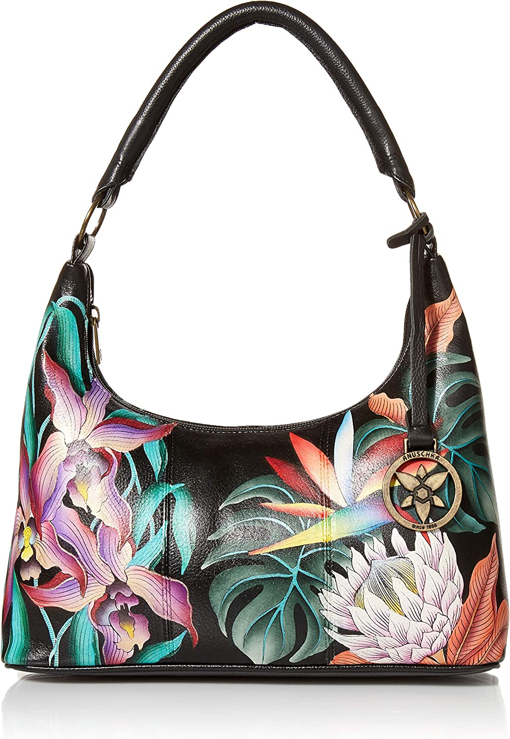 Anuschka Handbags Medium Top Zip Hobo On Escape 371 Outlet ☆ Free Shipping Black Island low-pricing
