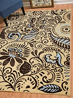 United Weavers of America Dallas Bandanna Rug - Blue, 5ft. 3in. x 7ft. 2in, Graphic Pattern, Jute Backing. Synthetic Indoor Rugs