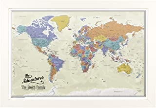 Push Pin Travel Maps Canvas - Personalized Tan Oceans World with Textured White Frame