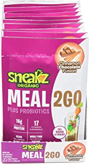 Sneakz Organic Meal2Go Complete Nutritional Shake, Chocolate Cinnamon Fusion, 10 servings