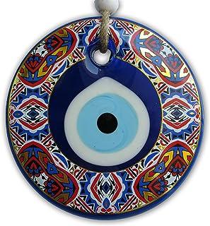 Glass Evil Eye - Wall Hanging Beads for Doorways - Turkish Blue Nazar Amulets Bead, Home Office Decor Ornament Big Good Lu...