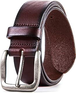 Genuine Men's Leather Belt, Italian Full Grain Leather,...